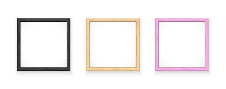 Black, yellow and pink square frame. Gallery wall decoration