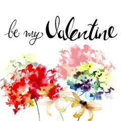 Gerber and Hydrangea flowers with title be my Valentine