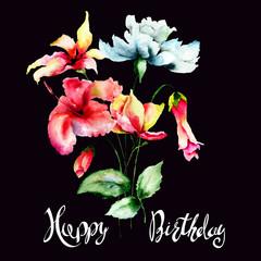 Original flowers with title Happy Birthday
