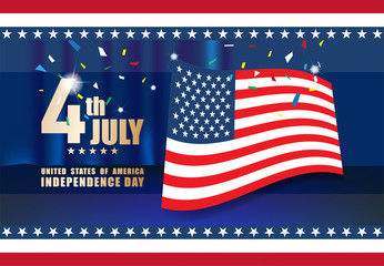 Celebrating Independence Day 4th of july, United States of America with American flag  background, Vector illustration design, EPS10.