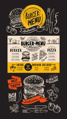 Burger restaurant menu. Food flyer for fastfood bar and cafe. Design template with vintage hand-drawn illustrations.