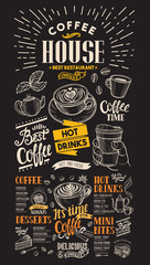 Blackboard coffee restaurant menu. Vector drink flyer for bar and cafe. Design template with vintage hand-drawn food illustrations.