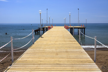 Wooden pier and sea.