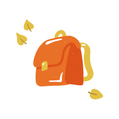 Backpack vector sketch illustration isolated on white background. Casual school bag, hand-drawn education icon. Back to school. Knapsack, satchel, haversack, for travelling, hiking, school.