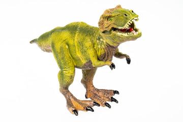 Tyrannosaurus rex Modellspielzeug freigestellt und gestackt