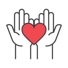 Heart in hands. Fundraising Symbols