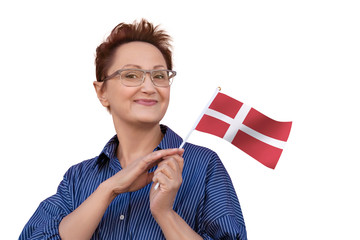 Denmark flag. Woman holding Danish flag. Nice portrait of middle aged lady 40 50 years old with a national flag isolated on white background.Learn Danish language. Visit Denmark concept.