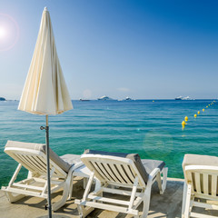 Rows of empty beach lounges in Juan les Pins, France