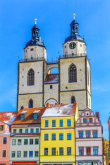 Colorful Market Square Saint Mary's City Church Stadtkirche Lutherstadt Wittenberg Germany