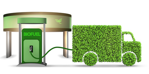 Delivery van powered by biofuel - 3d rendering