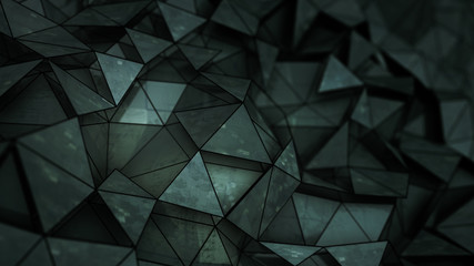 Futuristic black glossy construction with grunge texture 3D render