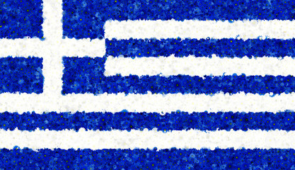 Illustraion of Greek Flag with a blossom pattern