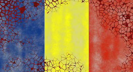 Illustration of a Romanian Flag, imitating of a painting on the old wall with cracks