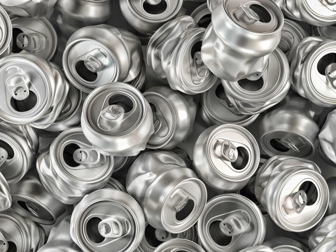 Crashed aluminum cans