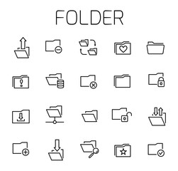 Folder related vector icon set.
