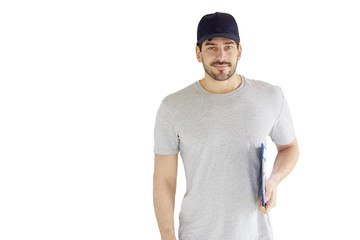 Young delivery man portrait with clipboard in shirt and baseball cap. Isolated white background.
