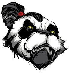 Panda Master on White / Hand drawn illustration of proud panda warrior on black background.