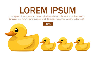 Yellow rubber duck. Cartoon cute ducky for bath. Flat vector illustration on white background. Concept design for website or advertising