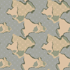 Military camouflage seamless pattern in green, beige and grey colors