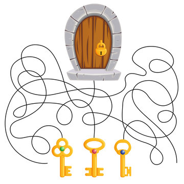What key is suitable to the lock. Puzzle. Maze game for kids