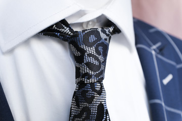 Blue And Black Tie Mens Corporate Fashion