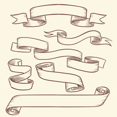 Vintage victorian scroll ribbon banners, old tag labels vector hand drawn set isolated