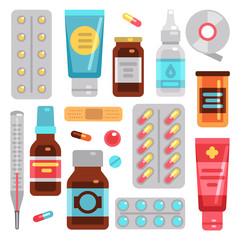 Medicine pharmacy drugs, pills, medicament bottles and medical equipment vector flat icons