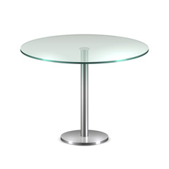 Empty glass round office table with metal stand isolated on white background. Vector template for coffee house interior