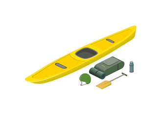 Rafting boat with equipment isometric view. Kayak, oar, bagpack, helmet, thermos isolated on white background. Vector illustration.