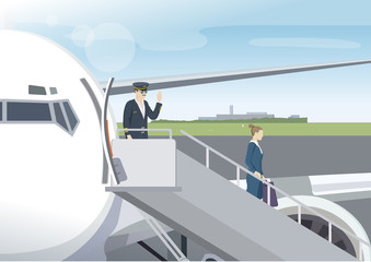 Pilot and fly attendant going out from the airplane after landing. Man and girl walk out plane at airport terminal. Vector Illustration.