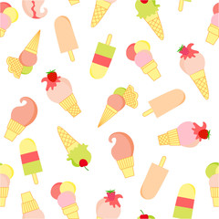 Seamless pattern with sweet ice cream