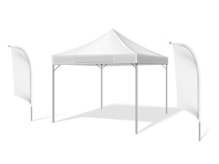 Empty white outdoor event tent with flying beach material flags vector illustration isolated on white background