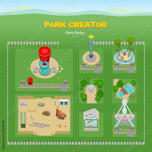 Amusement park  Game design 3D set  Attractions and