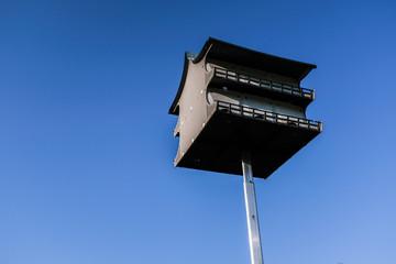 Bird Feeder Up High On A Pole