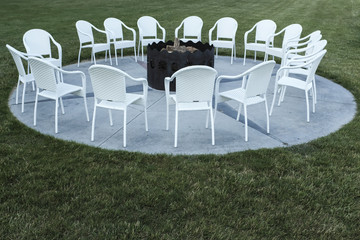 Fire Pit With A Cirlce Of Chairs For Vacation