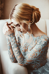 pensive beautiful bride
