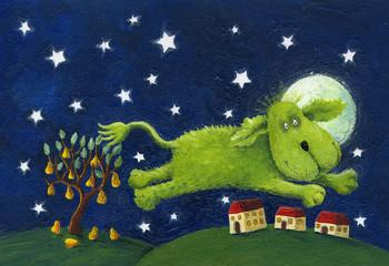 Happy green dog jumping - night scene