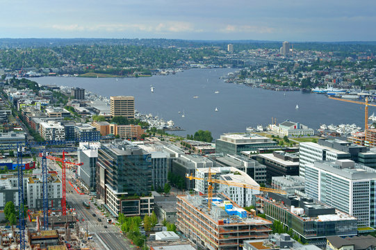 Lake Union, freshwater lake. Growing commercial district at south end of lake. Seattle, WA, United States