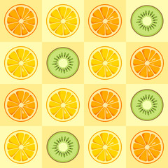 Lemon, orange, kiwi slices seamless pattern.