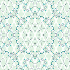 Seamless vector Moroccan tiles background. Round pattern with curls and leaves.