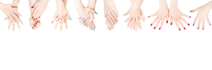 Poster de jardin Manicure Hands with colored nail polish set in the row