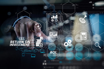 Double exposure of Businessman working with a Cloud Computing diagram on the new computer interface