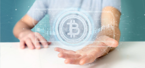 Man holding a technology Bitcoin icon on a circle 3d rendering