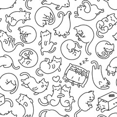 Cute Sleeping Cat Outline Seamless Pattern And Background