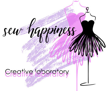 Tailoring emblem with mannequin or dummy and banner with lettering sew happiness. Fashion and tailoring logo design. Vector