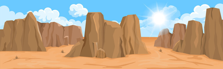 Desert landscape with rocks
