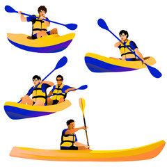 Kayakers isolated figures