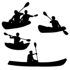 Kayakers isolated silhouettes set