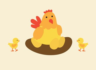 mother hen and baby chicks vector illustration