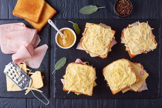 toasts croque monsieur prepared to bake